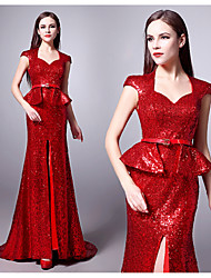 Formal Evening Dress - Ruby Plus Sizes Trumpet/Mermaid Sweetheart Sweep/Brush Train Sequined