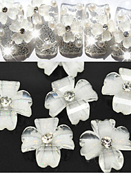 10 Pcs Translucent Shiny White Flowers Manicure Resin Nail Jewelry