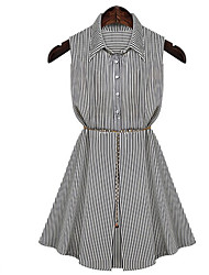 FengYa Women's New European Thin Waisted Stripes Dress