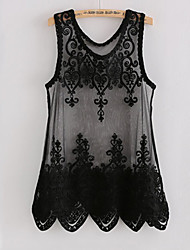 Women's Lace Micro-elastic Sleeveless Regular Vest (Lace) (More Colors)