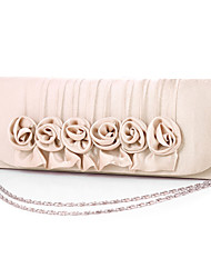 Women Satin Minaudiere Clutch / Evening Bag - Beige / Red / Gray