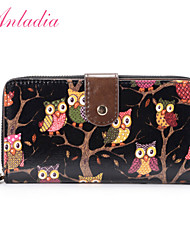 Anladia Ladies Girls Owl Print Oilcloth Leather Wallet Purse Wristlet Small Handbag