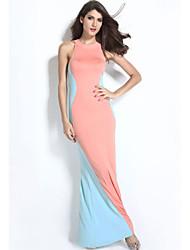 Women's Swerve Halter Maxi Evening Dress