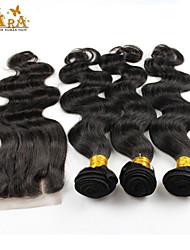 Trama do cabelo com Encerramento Cabelo Indiano Onda de Corpo 3 Peças tece cabelo