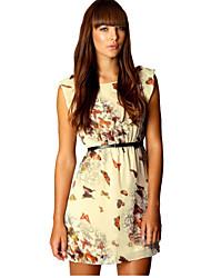 WAVE Women's Butterfly Print Sleeveless Chiffon Dress