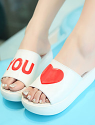 Women's Shoes Patent Leather Wedge Heel Round Toe Sandals/Slippers Casual White/Silver