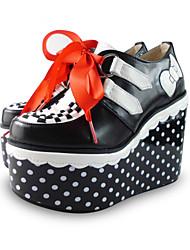 ручной работы черный 12см клин классические Лолита туфли с горохом