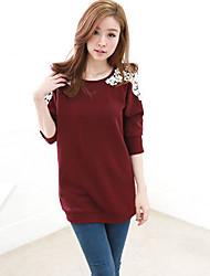 Women's Sweet with Cording Long Sleeve Long T-shirt (Cotton)