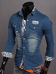 Men's Fashion Print Washed Long Sleeved Denim Shirt