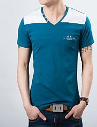 Katoen/Polyester - Effen - Heren - T-shirt - Informeel/Grote maten - Korte mouw