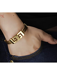 OPK®High Quality Stainless Steel Wire Drawing Plating Men 18 K Gold Bracelet