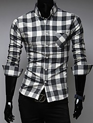 Johnny Men's Shirt Collar Casual Shirts , Cotton Blend Long Sleeve Casual Button Fall