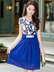 Women's Round Collar Chiffon Belt Short Sleeve Dress (More Colors)