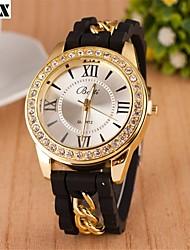 montre roman bracelet analogique chaîne de quartz numéro de diamants de la mode des femmes (couleurs assorties)