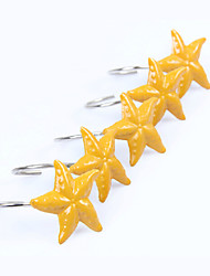Shower Curtain Hooks,Cute Yellow Starfish Shape(12 Pack)