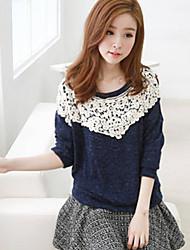 Women's Sweet Casual Round Collar Cording Long Sleeve Long T-shirt (Cotton)