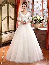Ball Gown Floor-length Wedding Dress -V-neck Satin