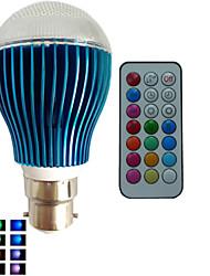 Ampoules Globe Gradable/Commandée à Distance/Décorative RGB/Couleurs Changeantes SchöneColors® 1 pièce B B22 9 W 3PCS LED Haute Puissance