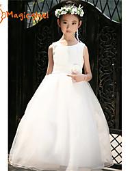 Girl's Summer Sleeveless Flower Ball Gown Wedding Party Dresses (Cotton + Mesh)