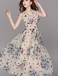 Women's Vintage Maxi Micro Elastic Sleeveless Maxi Dress (Chiffon)
