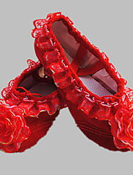 Kids'Dance Shoes Sneakers Flat Heel Fabric Satin Flower Red