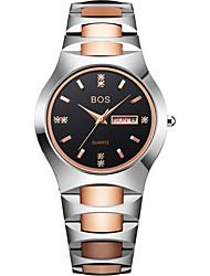 BOS His or Hers Black Waterproof Stainless Steel Quartz Wrist Watch for Men Women Couple Watches 8006