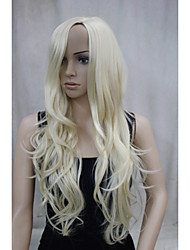 New Fashion No Bangs Side Skin Part Top Women's Blonde Long Curly Wavy Wig