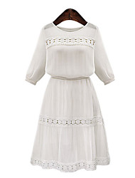 Women's Casual Inelastic ½ Length Sleeve Knee-length Dress (Lace/Polyester)
