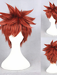 14inch Short Fate/stay night Wig Shirou Emiya Wine Red Synthetic Anime Cosplay Hair Wig CS-216D