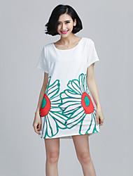 Mulheres Camiseta Decote Redondo Manga Curta Chifon Mulheres