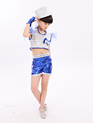 Jazz Performance Outfits Children's Performance Polyester Fashion Sequins Outfit Blue/Gold Kids Dance Costumes