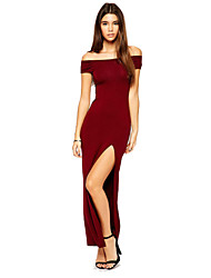 Morefeel Women's Sexy Thin Boat Neck Strapless Tight Short Sleeve Long Dress