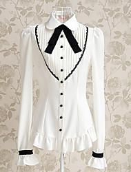 lange koker witte polyester preppy chic zoete lolita blouse