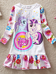 Girl's Spring New Printed Cute Flowers Pattern Long Sleeve Brand Dresses (Cotton)