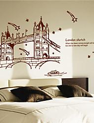 adesivos de parede decalques da parede, marrom londres pvc ponte adesivos de parede