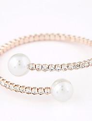 Women's European Style Fashion Trend Metal Rhinestone Pearl Bracelet