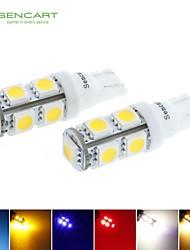 t10 conduit 2.5w bleu / rouge / blanc chaud / vert / jaune / blanc 9x5050smd 120lm pour ampoule de voiture (dc12-16v)