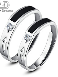 Poetry Dreams Sterling Silver Solitaire Arrow Adjustable Rings Couple Rings Set
