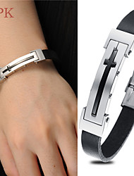 OPK®Stainless Steel Character Joker Cross Men's and Women's Wear Length Adjustable Leather Bracelet