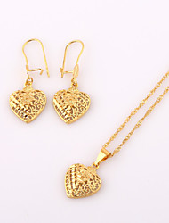 WesternRain 2015 Heart Shape Pendant Necklace Earrings Gold Lovely Pendant Chain Necklace Earrings Fashion Jewelry Sets