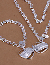 Lucky Doll Women's 925 Silver Plated Cut Out Heart Necklace & Bracelet Jewelry Sets