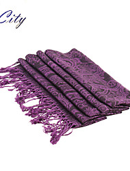 NEW Women Silk Scarf/Scarves  Ladies  Purple National Print Soft Chiffon Scraf Hijab