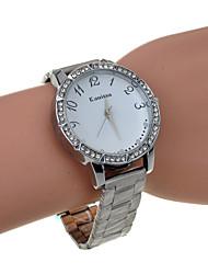reloj de cuarzo banda de aleación de diamantes de imitación de plata de las mujeres
