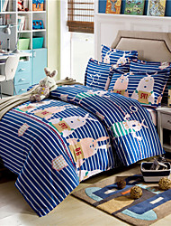 Navy Rabbit Striped Duvet Covers Queen Size 100% Cotton