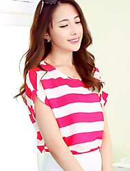 Women's Casual Chiffon Stripe Short Sleeve O-neck Loose Blouse