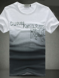 Masculino Camiseta Casual Estampado Algodão/Misto de Algodão Manga Curta Masculino