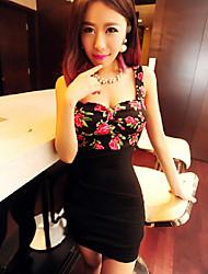 H.H.H Women's Sexy/Party Straps/V-Neck Sleeveless Dresses (Cotton)