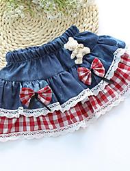 Girl's Sweet Bow Waist Little Bear Decor Denim Splice Mesh Check Skirt