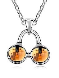 I Love Cherry Short Necklace Plated with 18K True Platinum Smoked Topaz Crystallized Austrian Crystal Stones