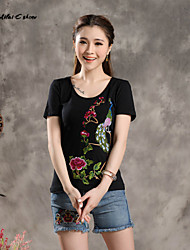 Milaieshow Women's China National Flowers Embroidery Plus Size T-shirt